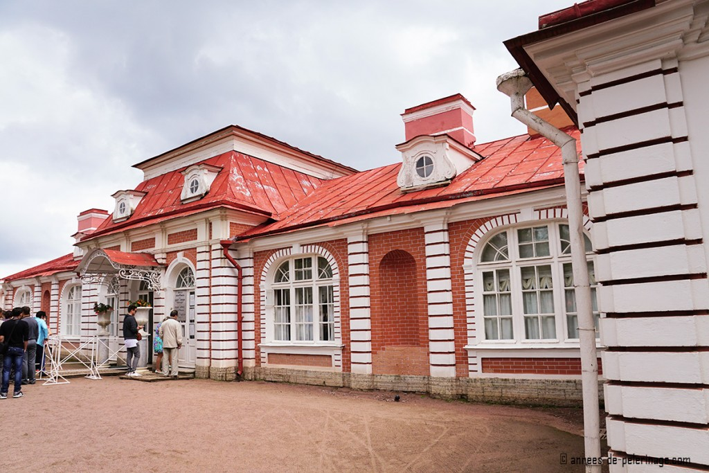 The entrance and ticket office of the Bathhouse Wing of the Monplaisir Palace in Peterhof, St. Petersburg