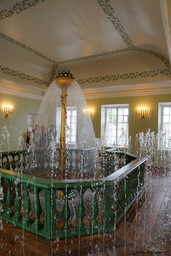 The big fountain pool inside the Bathhouse Wing of the Monplaisir Palace in Peterhof, St. Petersburg