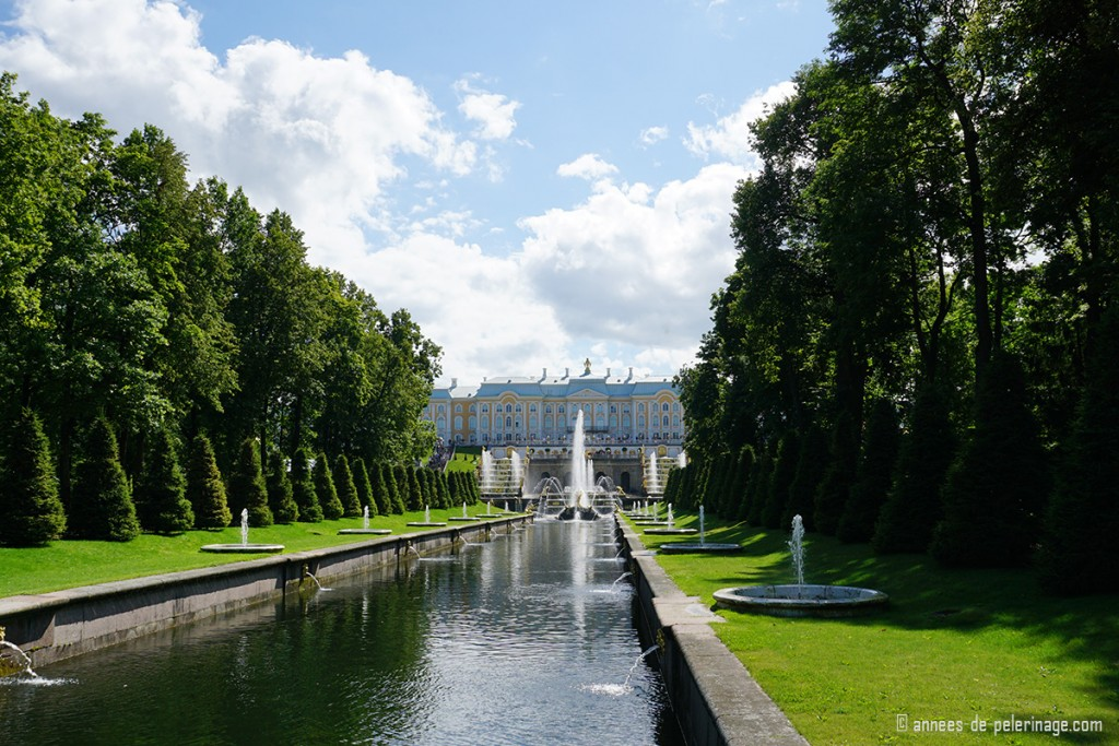full frontal view of Peterhof Palace in St. Petersburg, Russia