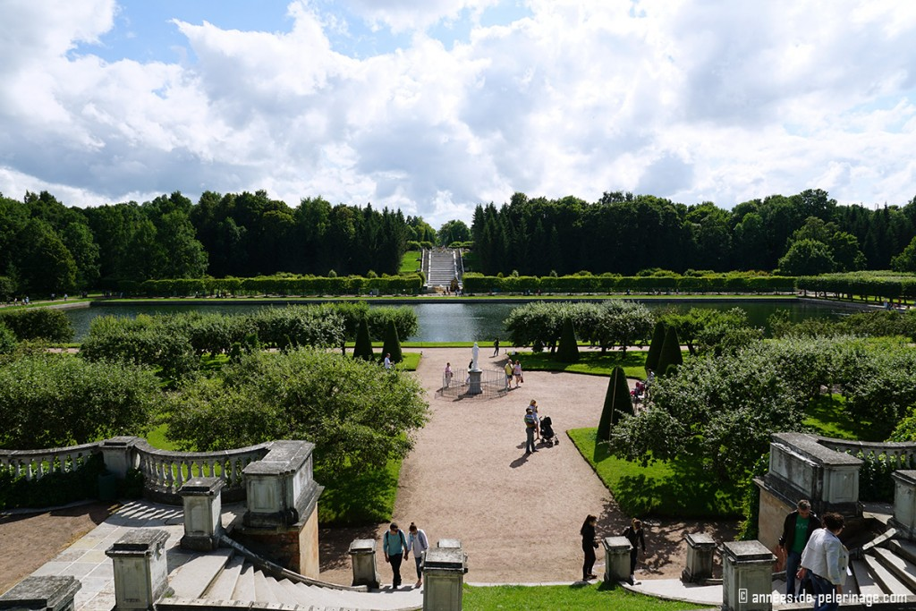 the extensive gardens of Peterhof in St. Petersburg, Russia
