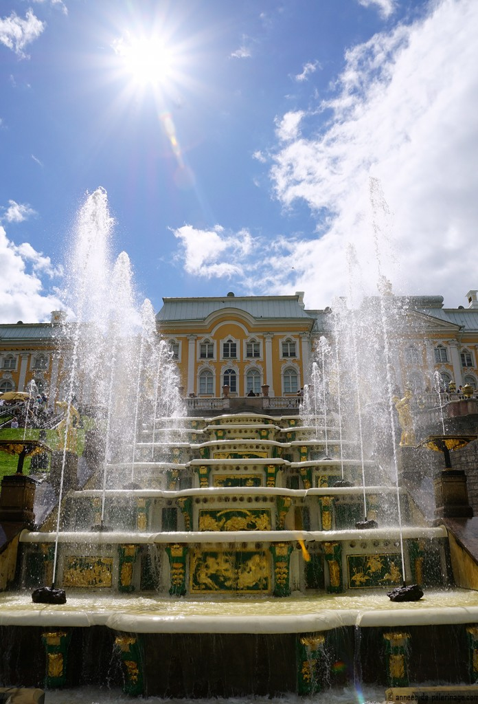 The fountains of the Grand Cascade in Peterhof, St. Petersburg, Russia