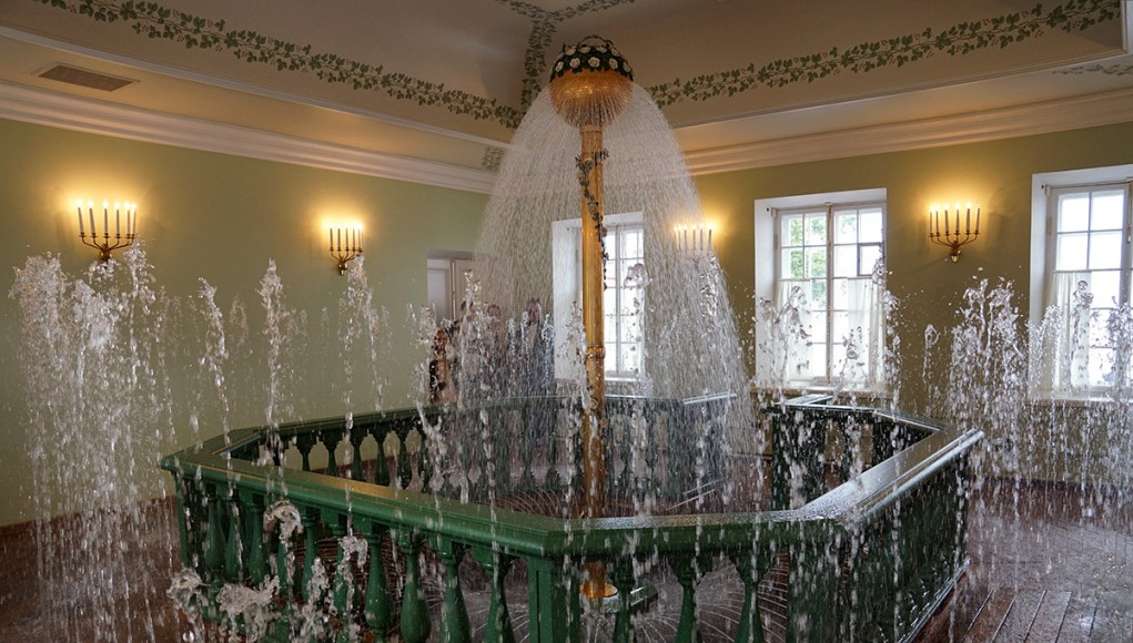 The grand water Fountain in the Bathhouse Wing of the Monplaisir Palace in Peterhof, St. Petersburg