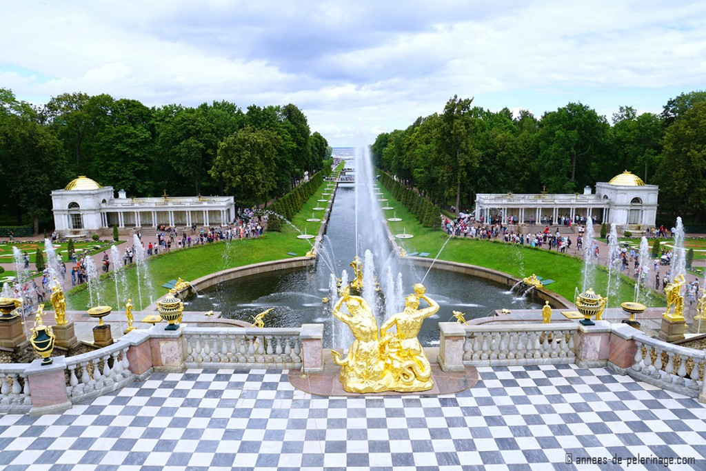 The grand terrance with its checkerboard floor of Peterhof Palace in St. Petersburg, Russia