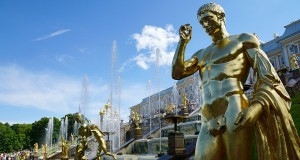 The golden statues of the grand cascade of Peterhof Palace in St. Petersburg, Russia