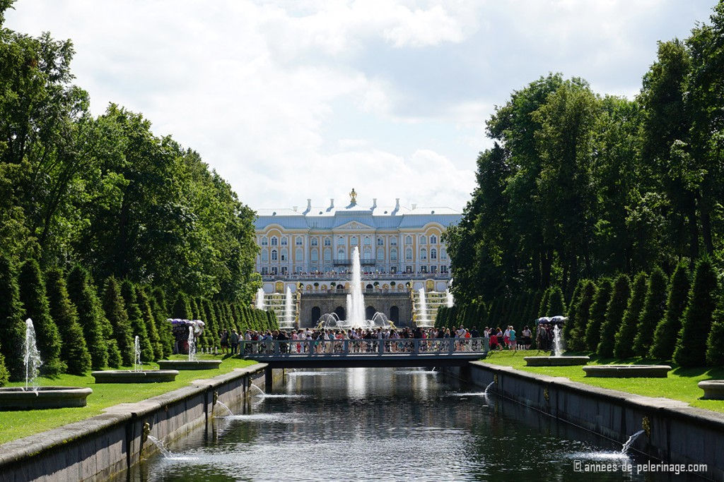 The Grand Cascade of Peterhof Palace in St. Petersburg seen from a bridge crossing the main channel