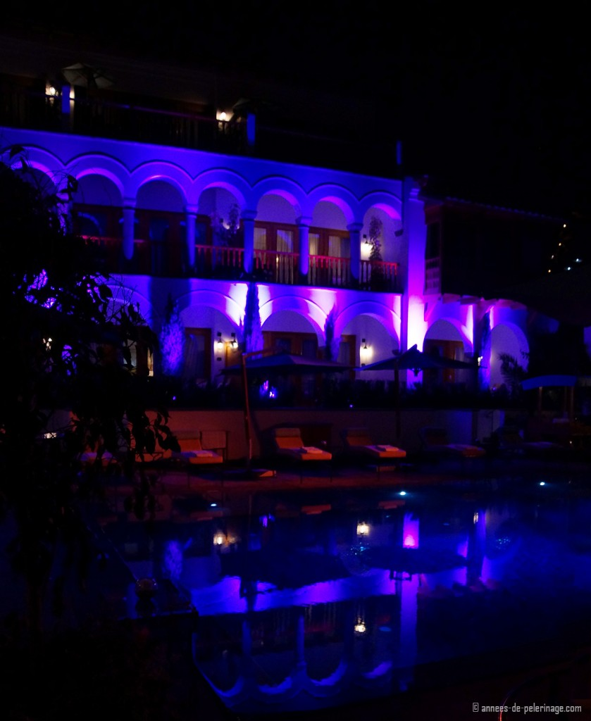 The pool at the Belmond Palacio Nazarenas in Cusco at night