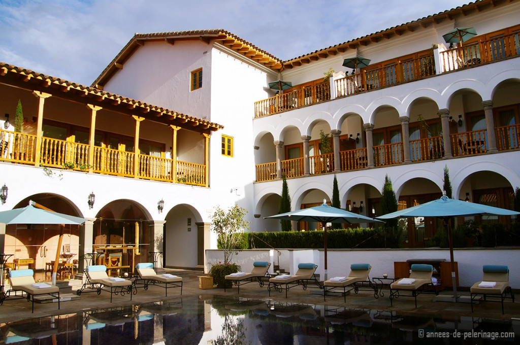 The fmous pool of the Belmond Palacio Nazarenas in Cusco - one of Peru's best luxury hotels