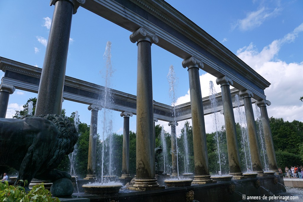 The roman fountain in the gardens of Peterhof Palace in St. Petersburg, Russia