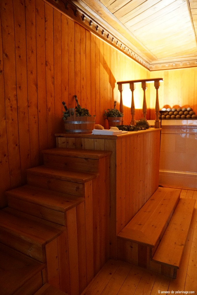 The small sauna inside the Bathhouse Wing of the Monplaisir Palace in Peterhof, St. Petersburg
