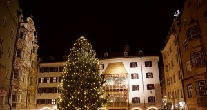 Many lights illuminate the courtyard where the main Christmas Market of Innsbruck is located