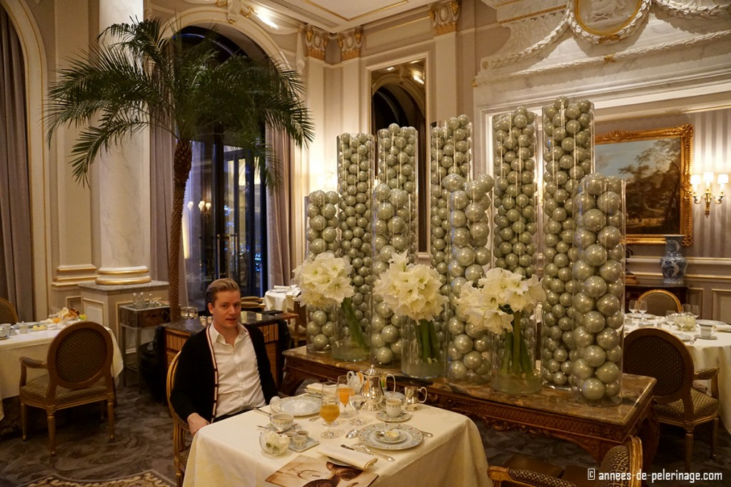 Me enjoying breakfast at the Michelin star restaurant Cinq at the Four Seasons Hotel George V in Paris - the gourmet travel highlight 2015