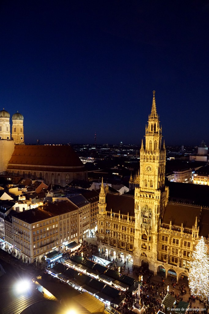 The munich christmas market seen from atop Alter Peter church tower