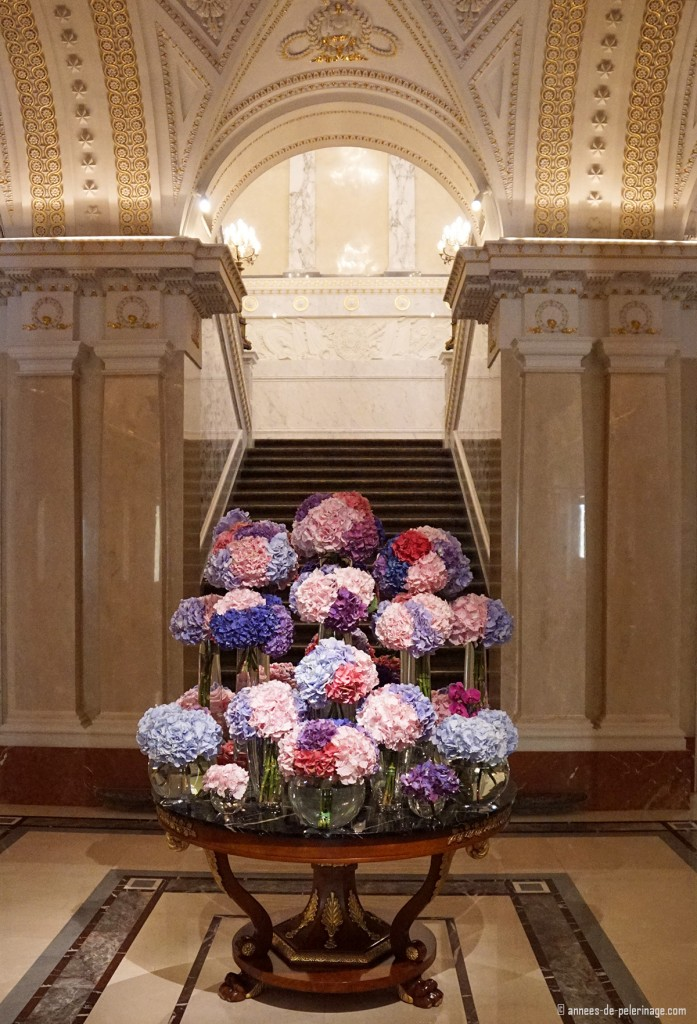 The flower decoration inside the lobby of the Four Seasons Hotel Lion Palace St.Petersburg, Russia