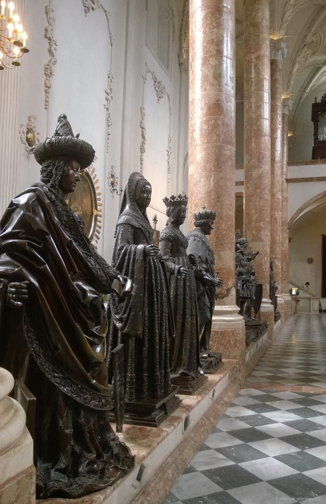 The famous Renaisance sculptures inside the Hofkirche church in Innsbruck, Austria