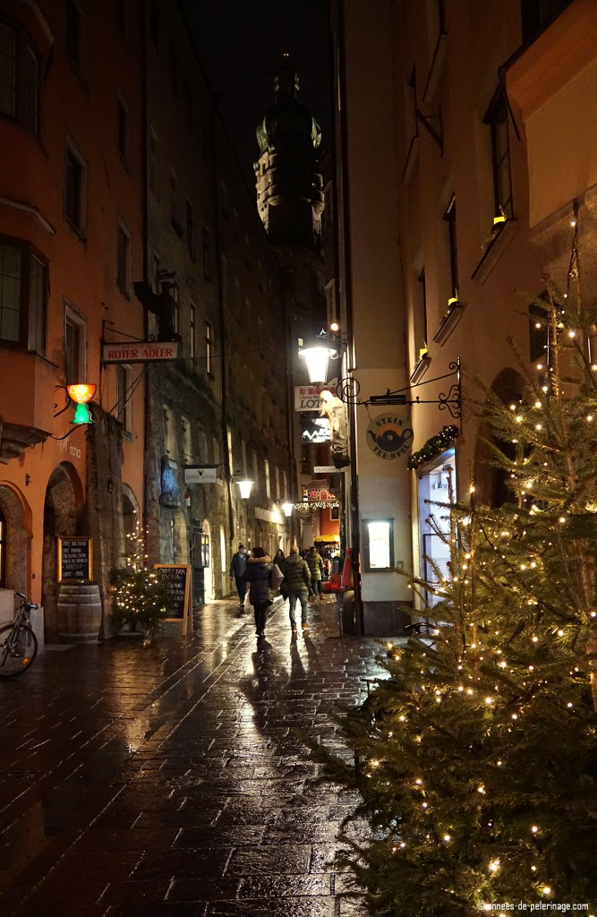 The streets of Innsbruck at night during holiday season