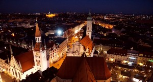The view on Munich from the Alter Peter belfry at night
