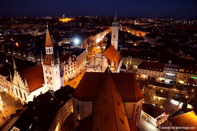 The view on Munich from the Alter Peter belfry at night - one of the best places to visit in Munich