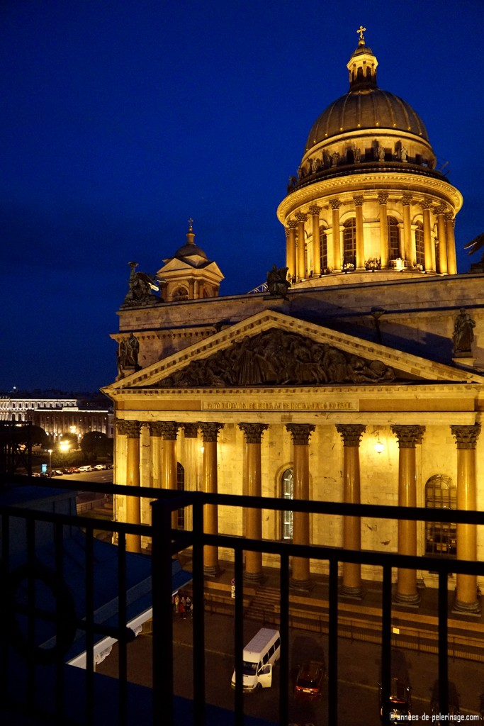 Night view on the St. Isaac's Cathedral from the terrace suite of the Four Seasons Hotel Lion Palace St.Petersburg, Russia