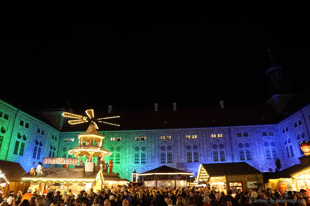 The Christmas market inside the Residenz courtyard in Munich