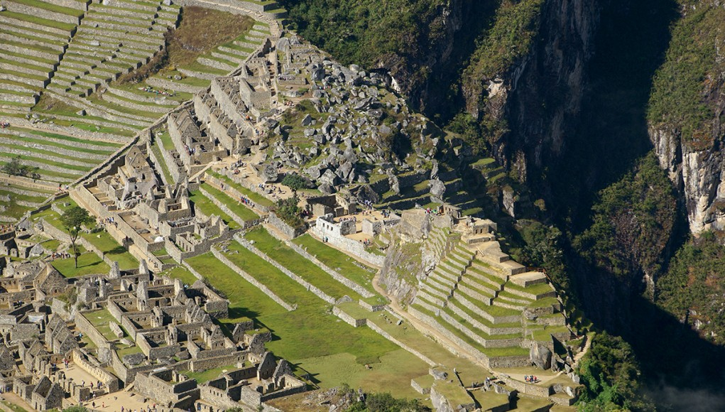 The central Squar of Machu Picchu seen from above