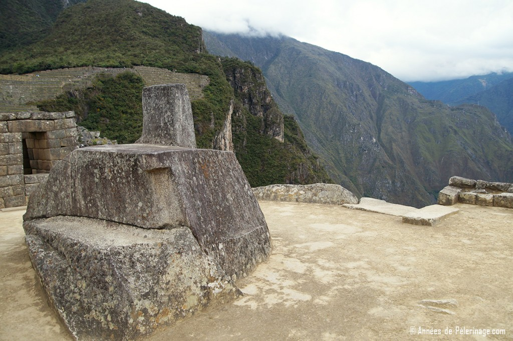 The Intihuatana stone at the top of Machu Picchu - the only stone of that kind that hasn'T been razed by the Spanish