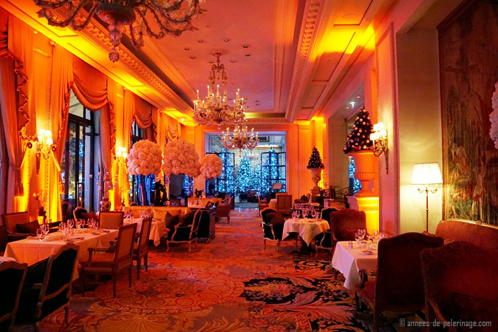 La galerie at night inside the Four Seasons Hotel George V in Paris