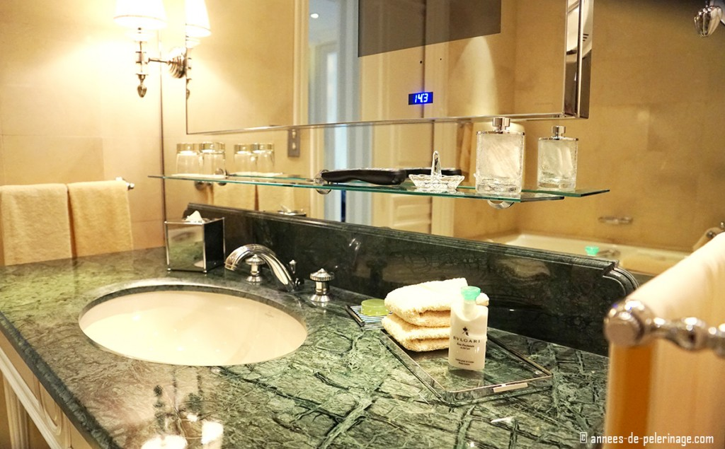Bathroom and washtable of the Four Seasons Hotel George V in Paris