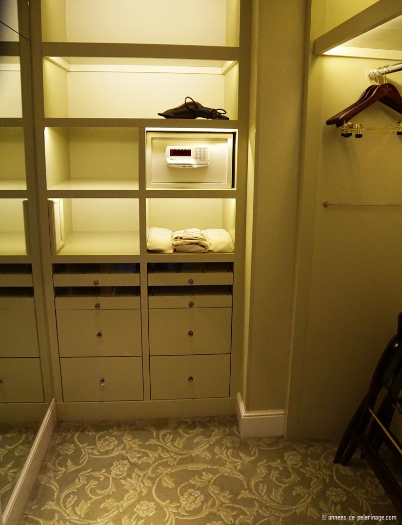 a closet in a suite of the Four Seasons Hotel George V in Paris