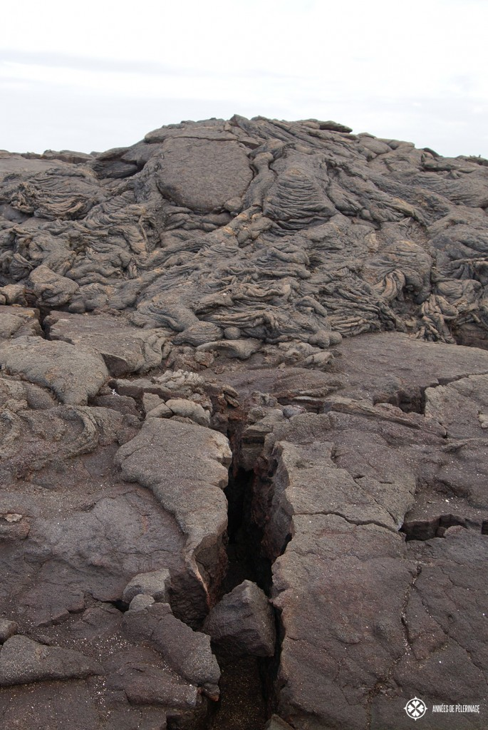 A huge hill of cold lava on the Galápagos Islands