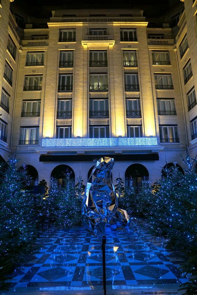 The courtyard of the the Four Seasons Hotel George V in Paris