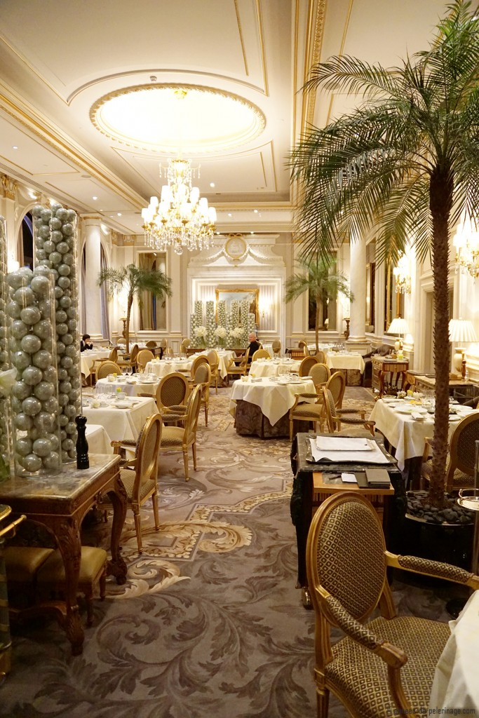 The Le Cinq michelin-star restauran inside the Four Seasons Hotel George V in Paris