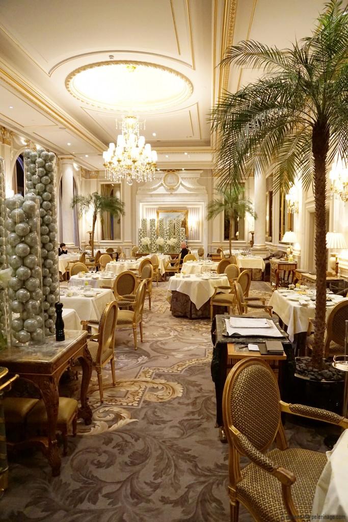 The Le Cinq michelin-star restauran inside the Four Seasons Hotel George V in Paris