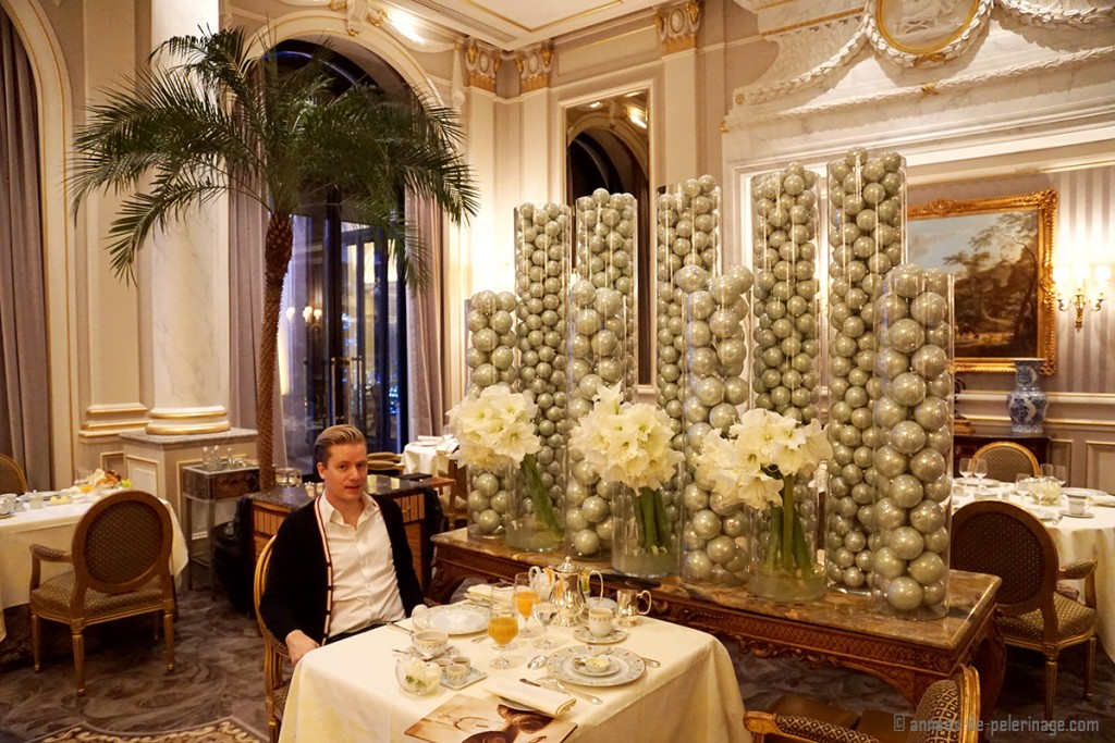 Me enoying breakfast at the Le Cinq inside the Four Seasons Hotel George V in Paris