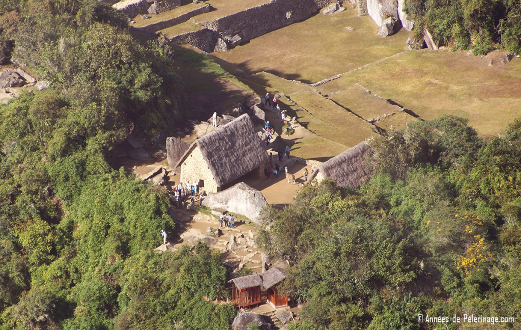 The sacred rock and its two adjoining buildings at the far north of Machu Picchu