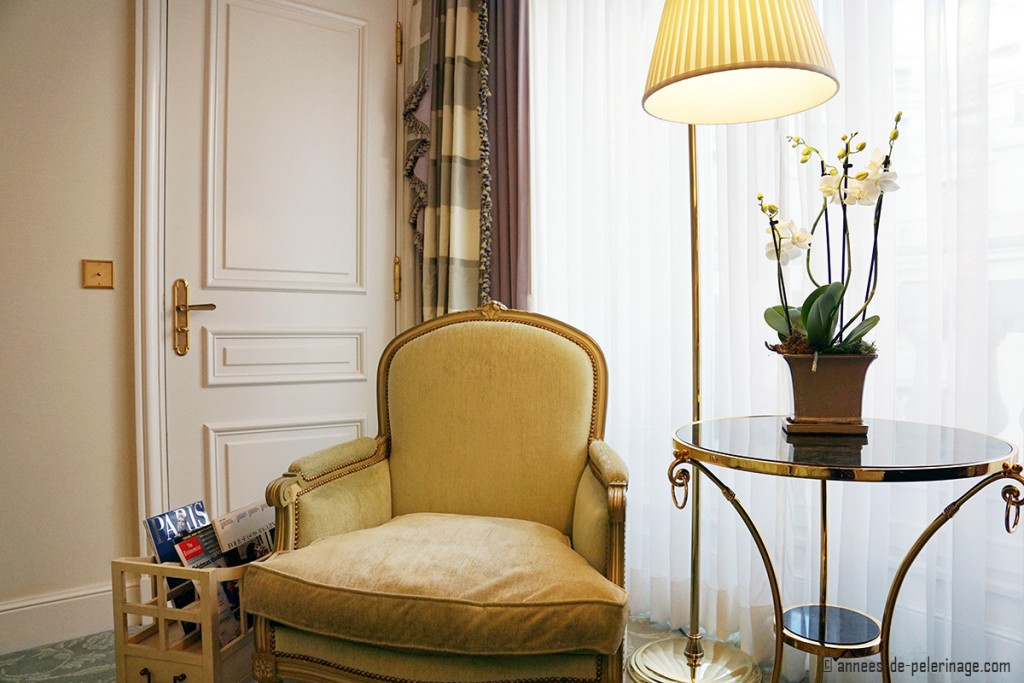 A sitting area in a suite inside the Four Seasons Hotel George V in Paris