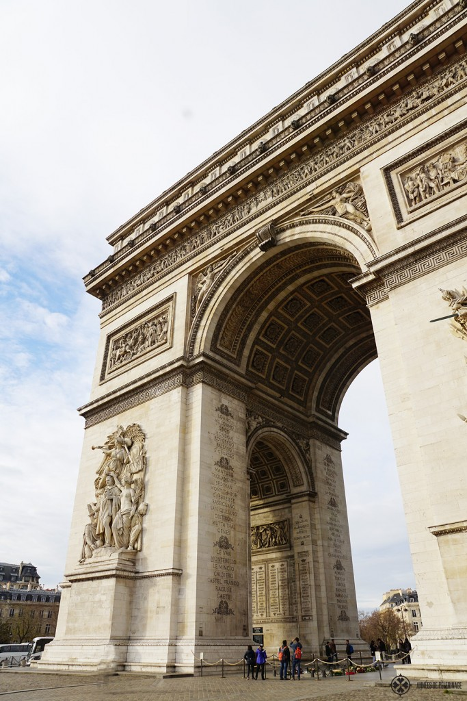 The Arc de Triomphe at the end of the Champs-Élysées in Paris