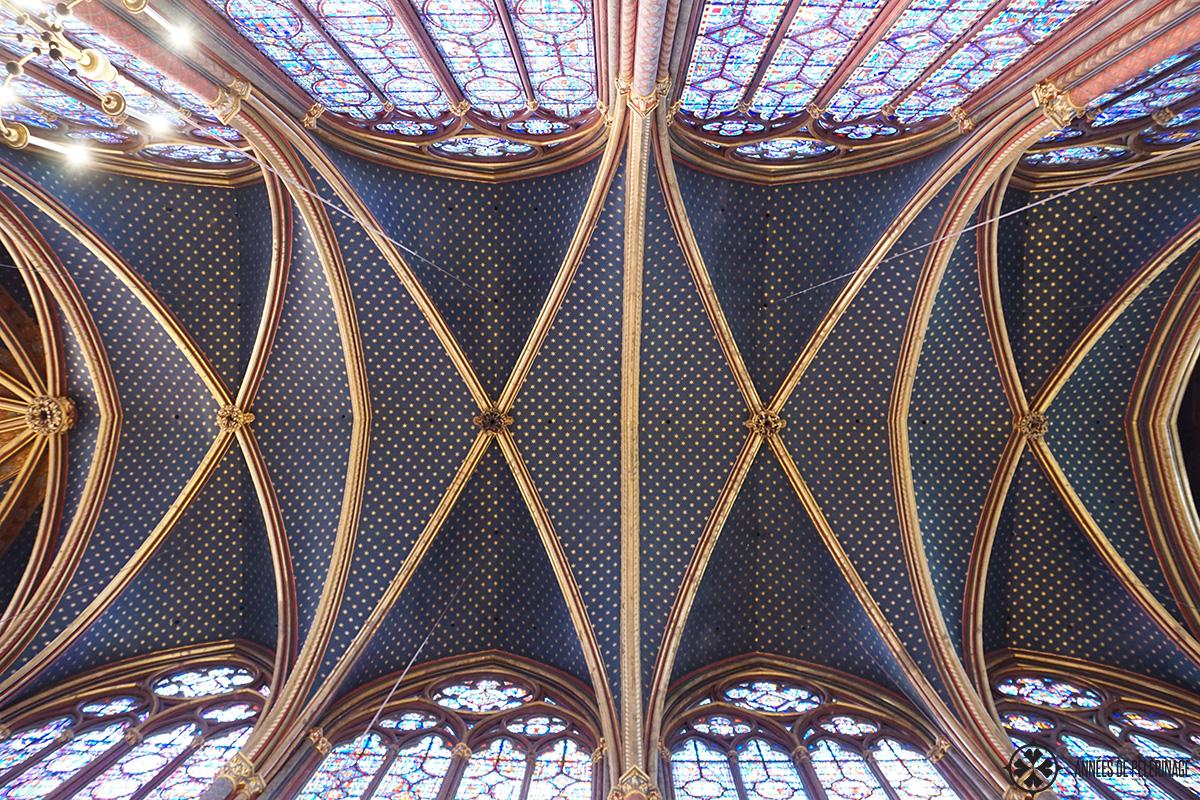 The blue ceiling of Saint-Chapelle in Paris