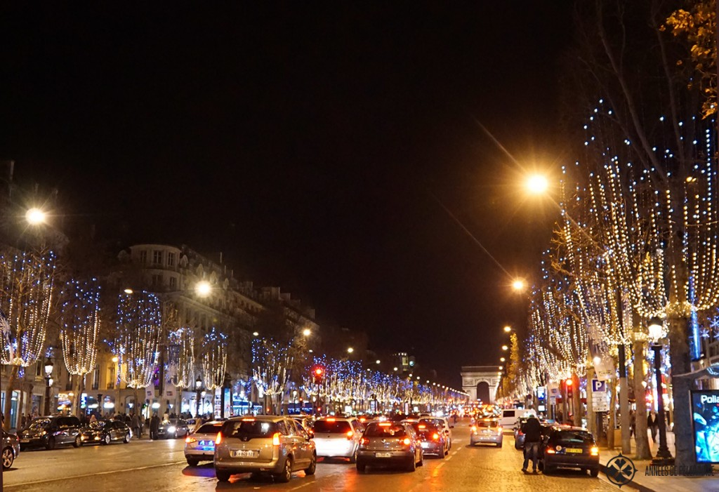 The Champs-Élysées at night with christmas decoration everywhere