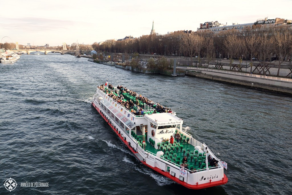 A river cruise (bateaux Mouches) on the Seine, Paris