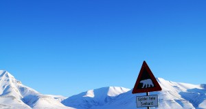 "The warning sign ""beware polar bears"" at the entrance to Longyearbyen"