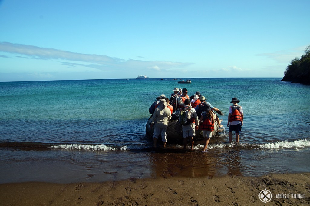 Pack for a Galapagos cruise: water shoes or teva style sandals because there will be a lot of wet landings like these