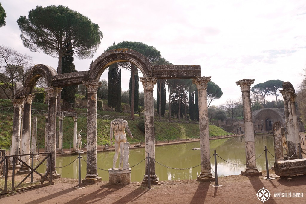 The canopus pool and greek statue at the Villa Adriana