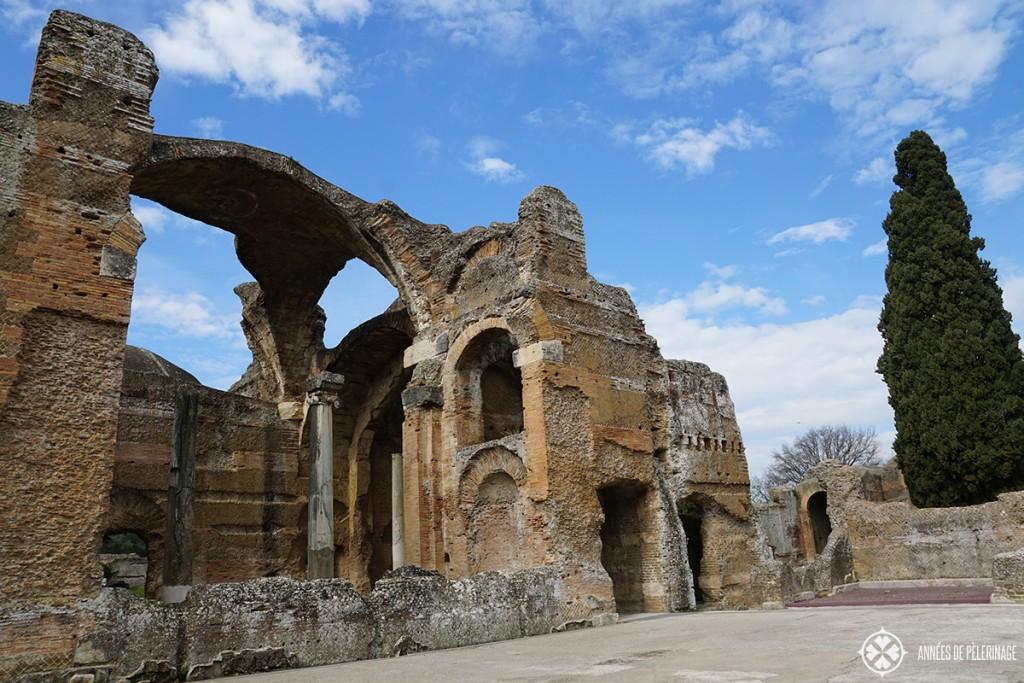 Grand Thermae and columns of the Villa Adriana in Tivoli