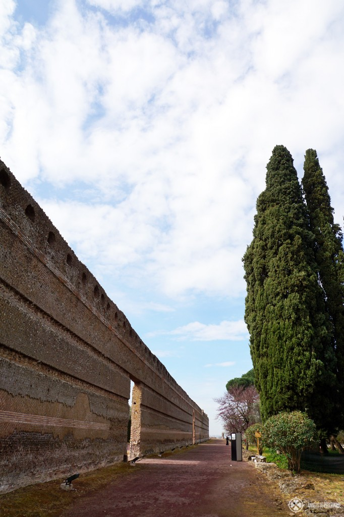 The gigantic brick wall around the Pecile Pool at Villa Adriana in Tivoli