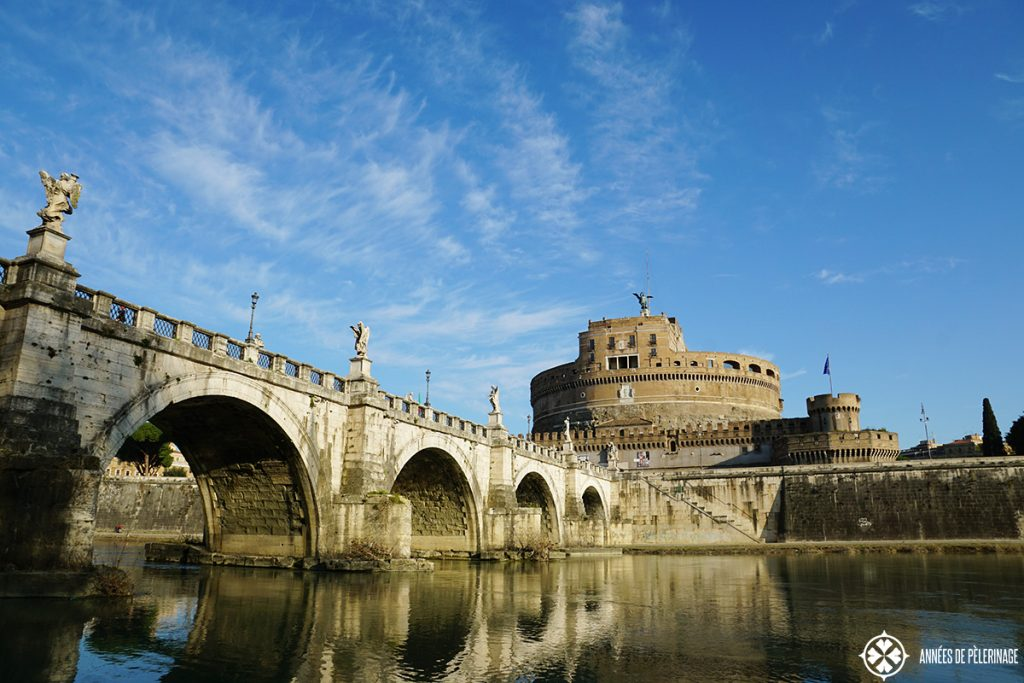 The Castel Sant' Angelo in Rome seen from the banks of the Tiber River