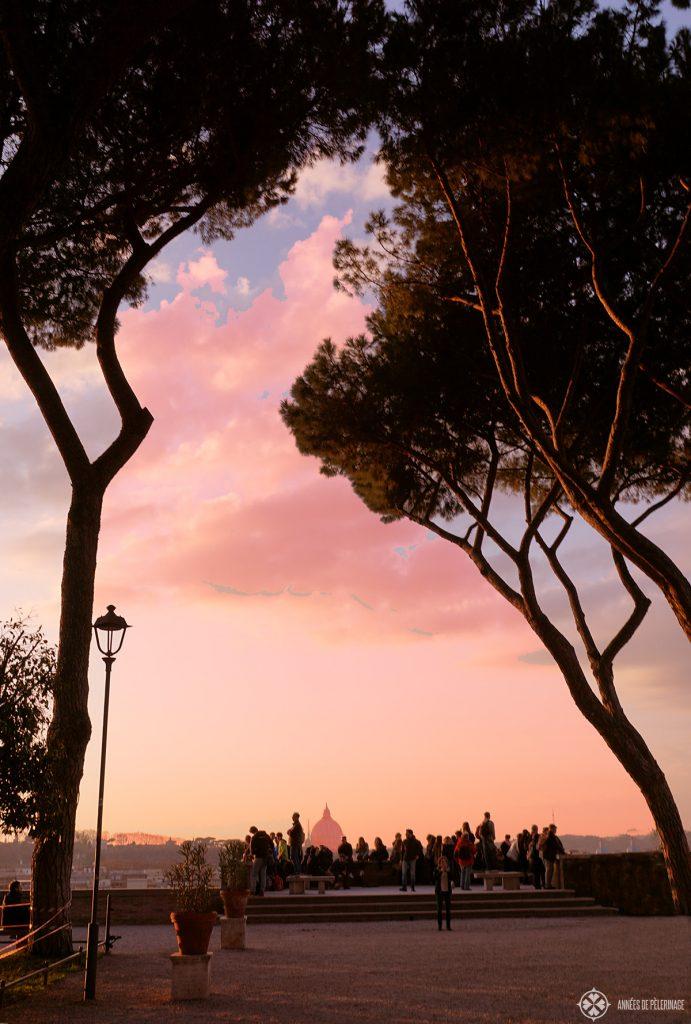 Sunset at the Giardino degli Aranci in Rome