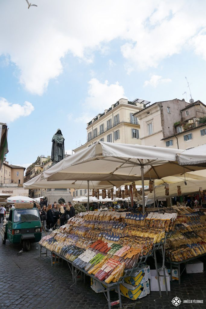 The Campo del Fiori Food market in the heart of Rome