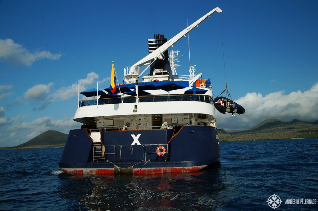 Rear view of the Celebrity Xpedition Galapagos luxury cruise ship
