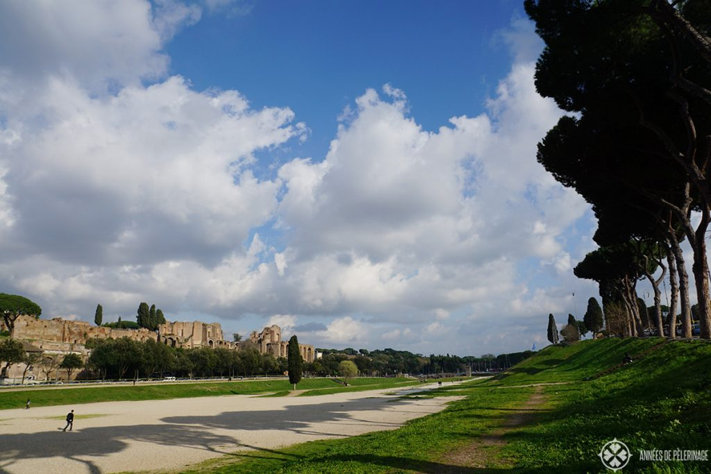 The Circus Maximus and the the ruins of the Palantine Hill in the background