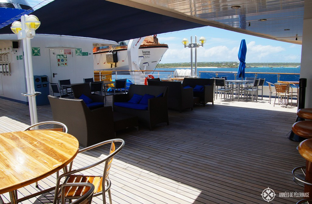 The bar deck on the Celebrity Xpedition Galapagos luxury cruise ship